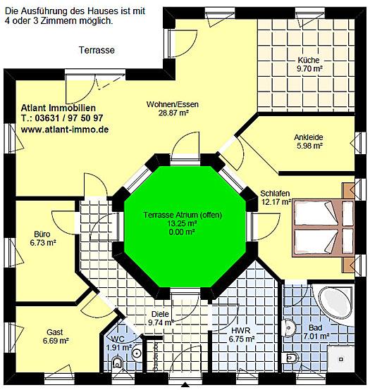 Video Winkelbungalow mit Atrium 3 3 Variante 2 - Einfamilienhaus ...
