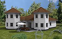 Winkelbungalow mit zwei Turmerkern 172 qm Wohnfläche 7 Zimmer