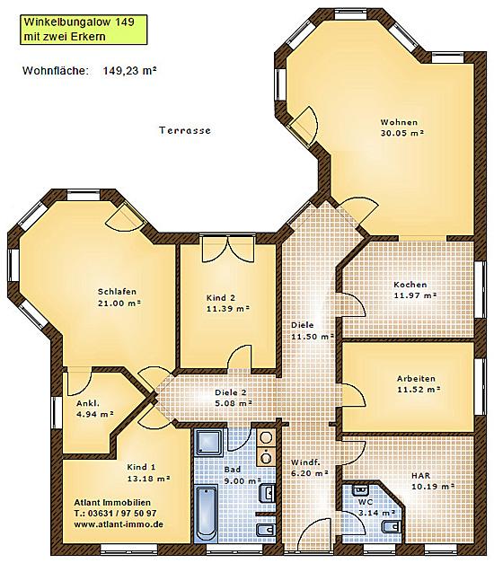 Einfamilienhaus Neubau Winkelbungalow 149 mit zwei Erkern Video ...